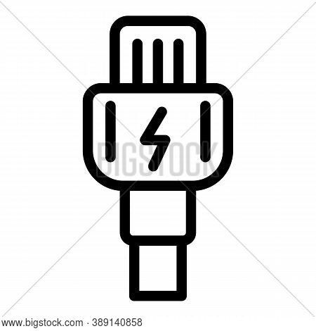 Charger Cable Icon. Outline Charger Cable Vector Icon For Web Design Isolated On White Background