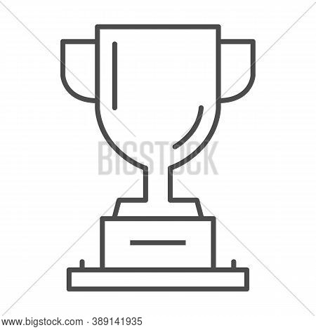 Winner Cup Thin Line Icon, Sports And Competition Concept, Trophy Sign On White Background, Champion