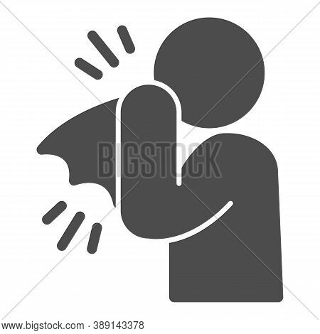 Man With A Cold Solid Icon, Hygiene Concept, Man Sneezes To Tissue Sign On White Background, Man Cov