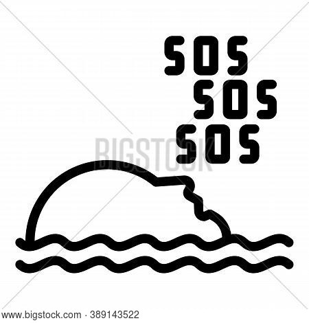 Sos Rescuer Water Icon. Outline Sos Rescuer Water Vector Icon For Web Design Isolated On White Backg