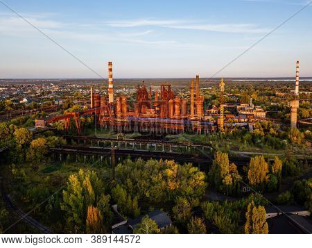 Blast Furnace Equipment Of The Metallurgical Plant At The Sunset, Aerial View