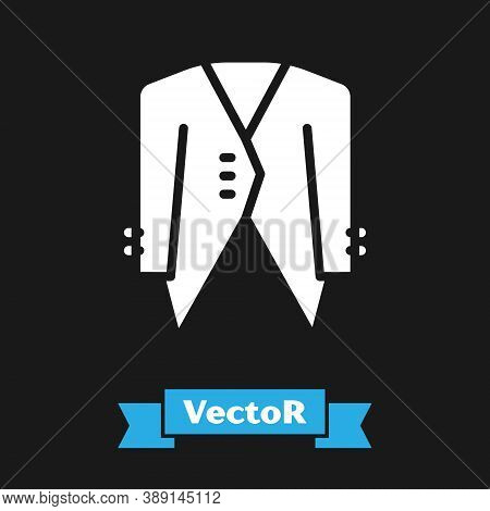 White Suit Icon Isolated On Black Background. Tuxedo. Wedding Suits With Necktie. Vector