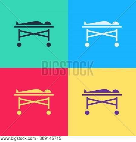 Pop Art Dead Body In The Morgue Icon Isolated On Color Background. Vector