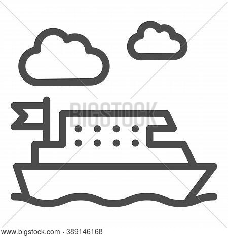 Ferry Line Icon, Public Transport Concept, Ferry Ship Transportation Sign On White Background, Boat