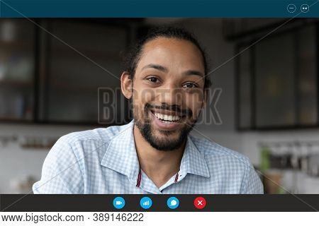 Screen View Of Biracial Man Have Webcam Call