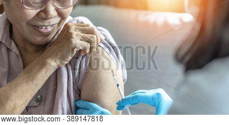 Vaccine Shot For Elderly Vaccination, Medical Immunization For Aging Senior Woman, Older Patient, Ge