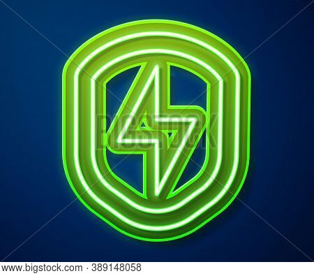 Glowing Neon Line Secure Shield With Lightning Icon Isolated On Blue Background. Security, Safety, P