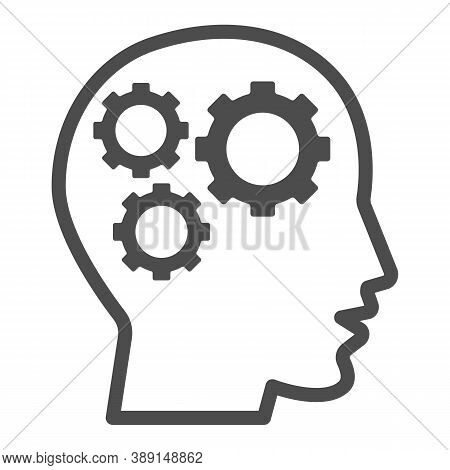 Gears In Head Line Icon, Idea And Innovation Concept, Human Mind And Three Cogs Sign On White Backgr