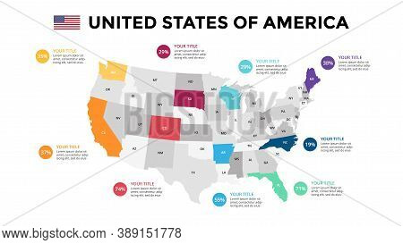 United States Of America Vector Map Infographic Template. Slide Presentation. North America Usa Coun