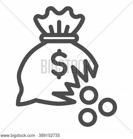 Bag Of Money With Hole And Coins Line Icon, Financial Problem Concept, Leaking Coins From Torn Money