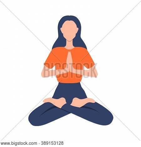 Woman Practicing Yoga Or Meditation. Relaxed, Pacified Young Adult. Flat Illustration. Vector Eps 10