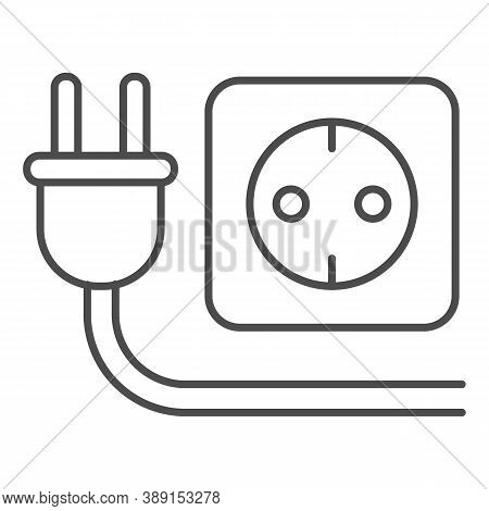 Plug And Socket Thin Line Icon, Technology Concept, Electricity Sign On White Background, Electric P
