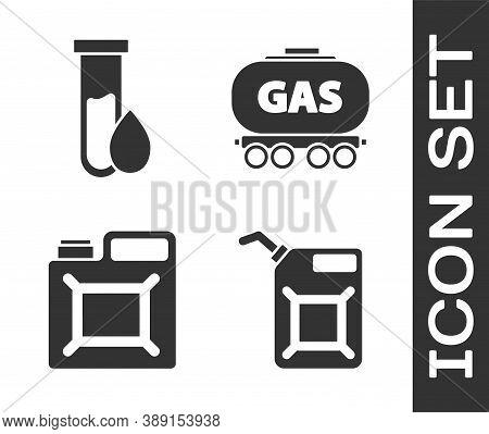 Set Canister For Gasoline, Oil Petrol Test Tube, Canister For Gasoline And Gas Railway Cistern Icon.