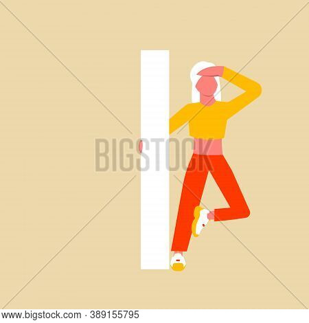 A Woman In Search Of Self-identification. The Woman Is Holding On To The Capital Letter I. Flat Cart