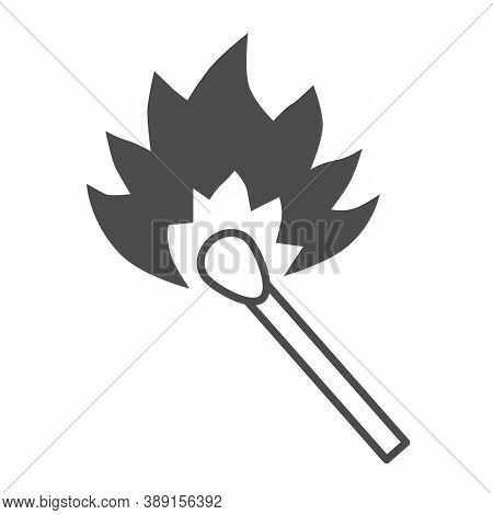 Burning Match Thin Line Icon, Picnic Concept, Matchstick With Flame Sign On White Background, Burnin