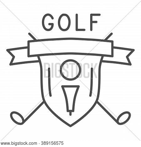 Golf Logo With Golfball And Crossed Sticks Thin Line Icon, Sport Concept, Golf Club Emblem Sign On W