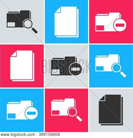 Set Search Concept With Folder, Document And Document Folder With Minus Icon. Vector