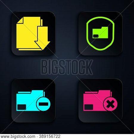 Set Delete Folder, Document With Download, Document Folder With Minus And Document Folder Protection