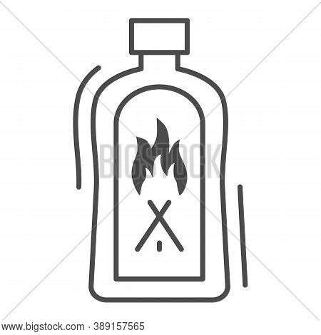 Liquid For Kindling Fire Thin Line Icon, Picnic Concept, Fire Firing Fluid Sign On White Background,
