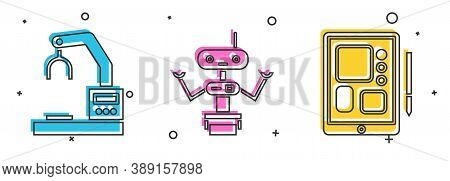 Set Robotic Robot Arm Hand Factory, Robot And Graphic Tablet Icon. Vector