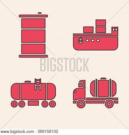Set Tanker Truck, Barrel Oil, Oil Tanker Ship And Oil Railway Cistern Icon. Vector