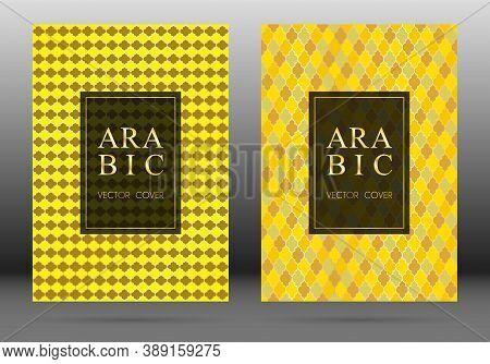 Arabesque Pattern Vector Cover Page Layout Design Set In Arabic Style Mosaic In Gold Grid. Islamic B