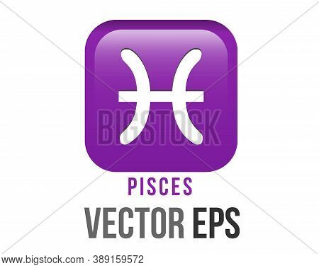 Vector Gradient Purple Pisces Astrological Sign Icon In Zodiac, Represents Fish