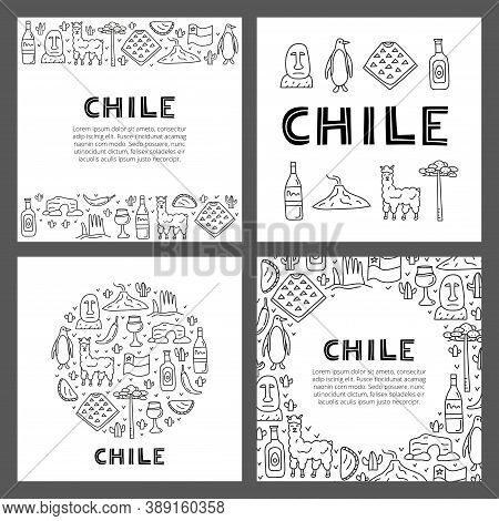 Set Of Cards With Lettering And Doodle Outline Chile Icons Including Easter Island Statue, Villarric