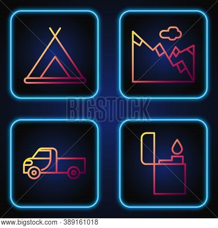 Set Line Lighter, Pickup Truck, Tourist Tent And Mountains. Gradient Color Icons. Vector