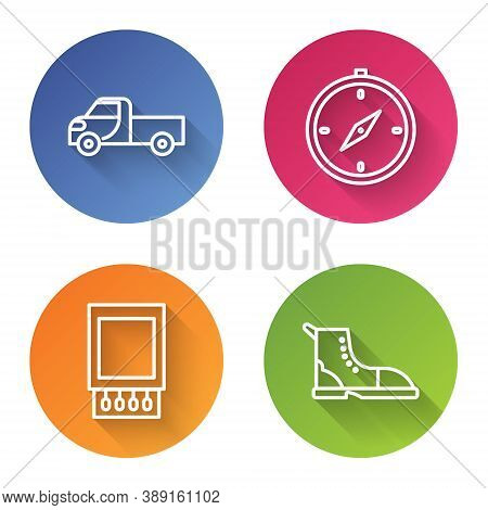 Set Line Pickup Truck, Compass, Open Matchbox And Matches And Hiking Boot. Color Circle Button. Vect