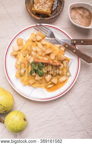 Apple Pancakes.thin Pancakes (crepes) With Apple Filling, Stuffed Rolls, Russian Traditional Food Fo