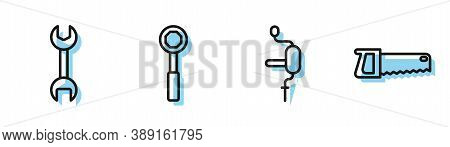 Set Line Hand Drill, Wrench Spanner, Wrench Spanner And Hand Saw Icon. Vector