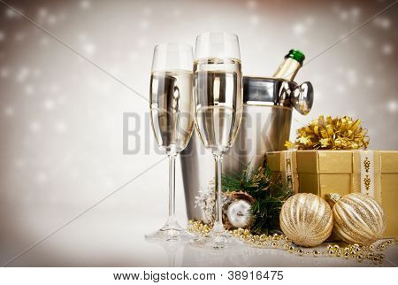 Celebration theme with champagne wine