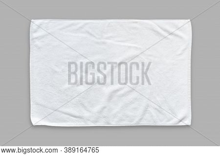 White Cotton Towel Mock Up Template Fabric Wiper Isolated On Grey Background With Clipping Path, Fla