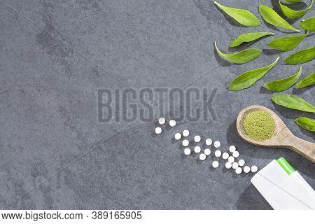 Natural Sweetener In Pills Of Stevia Plant - Stevia Rebaudiana. Top View