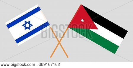 Crossed Flags Of Jordan And Israel. Official Colors. Correct Proportion. Vector Illustration