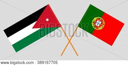 Crossed Flags Of Jordan And Portugal. Official Colors. Correct Proportion. Vector Illustration