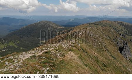 Panoramic View Of Mountain. Lovely Lanscape Of Spacious Glades.
