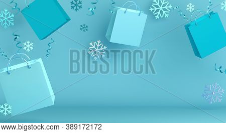 Winter Sale Background, Happy New Year Decoration With Blue Flying Shopping Bag, Snowflakes, Confett