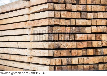 Treated Wood In A Pile. Closeup. Timber.