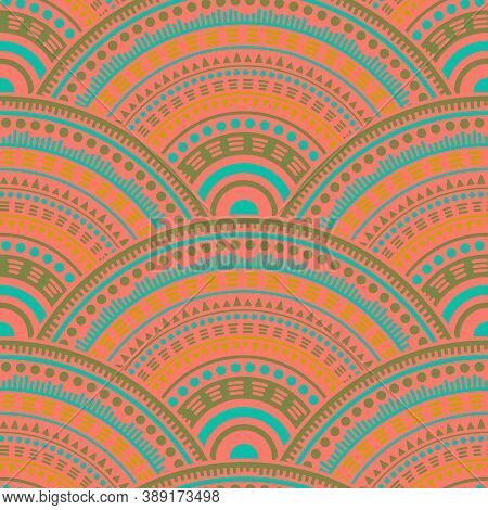 Mexican Medallions Mosaic Background Vector Seamless Pattern. Ethnic Motifs Floral Line Art Geometry