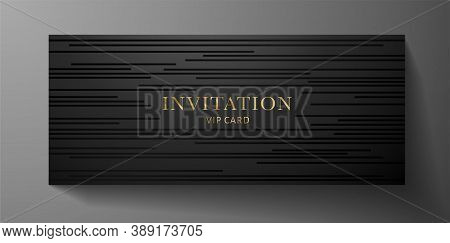 Premium Invite Vip Card Template With Black Horizontal Line Pattern On Background. Deluxe Stripe Tex