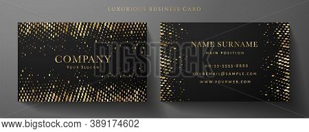 Gold And Black Premium Vip Card Template (gift Card Set). Deluxe Pattern (golden Circular Dots). Ric
