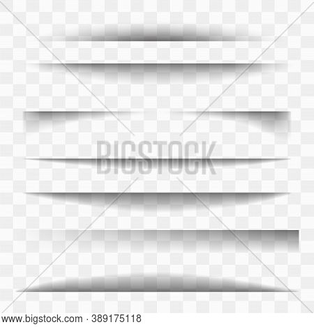 Vector Shadows Isolated. Transparent Shadow Realistic Illustration. Page Divider With Transparent Sh