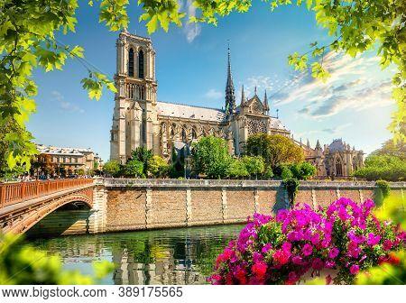 Notre Dame On Seine In Paris, France