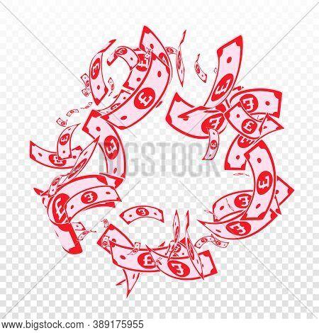 British Pound Notes Falling. Messy Gbp Bills On Transparent Background. United Kingdom Money. Authen