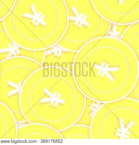Chinese Yuan Gold Coins Seamless Pattern. Fresh Scattered Yellow Cny Coins. Success Concept. China M