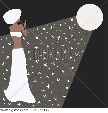 Full Moon, Star Road And Woman. Vector Illustration. Time Of Miracles