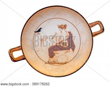 Delphi, Greece - October 04 2020: An Ancient Greek plate at the Delphi museum in Greece
