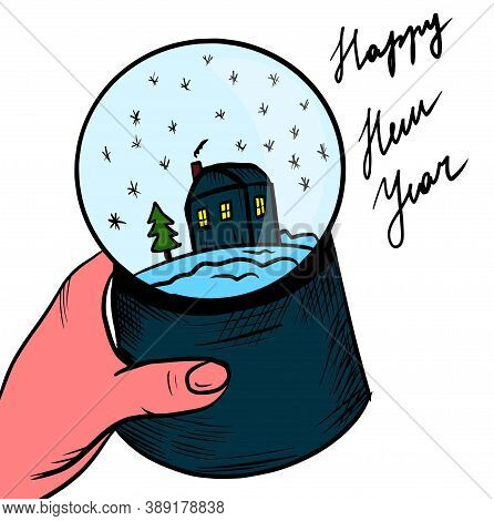 Graphic Illustration, New Year's Glass Ball In Hand, Holiday Paraphernalia. Vector Illustration Hand